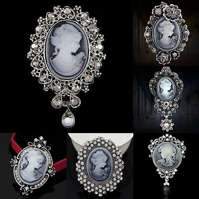 Crystal Women Lady Vintage Cameo Brooch Pin Pendant Party Fashion Xmas Jewellery