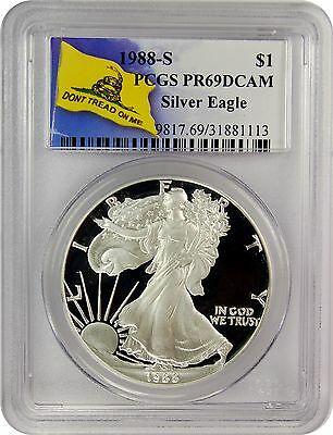 1988-S PCGS PR69DCAM Silver Eagle Dollar Dont Tread On Me Label