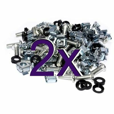 [2 x 50 pack] Rack Fixing Set M6 Captive Cage Nuts/Bolts/Plastic Washers (x100)