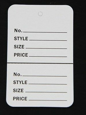 500 White Small (1.1/4 x1.7/8) Perforated Unstrung Price Merchandise Store Tags