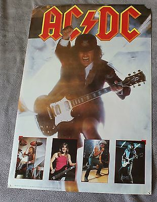 AC/DC 5 Pix 1988 Angus Young Cliff Williams Brian Johnson Live Concert Poster G+
