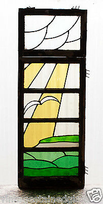 Large Tall Pair of Antique Stained Glass Windows Sea Gull Flying          (2988)