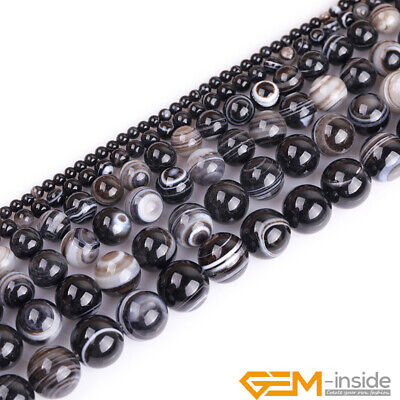 Natural Striped Tibetan Agate Dzi Round Beads For Jewelry Making 4mm 6mm 8mm