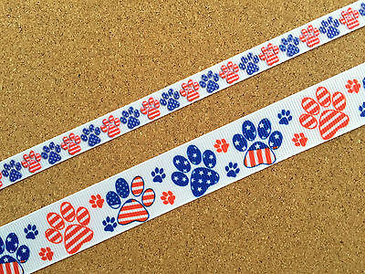 "7/8"" & 3/8' Wide Colorful Animal USA Patriotic Paws Prints Grosgrain Ribbon"