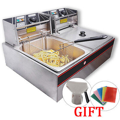 20L Commercial Electric Dual Tank Basket Countertop Deep Fryer Stainless Steel