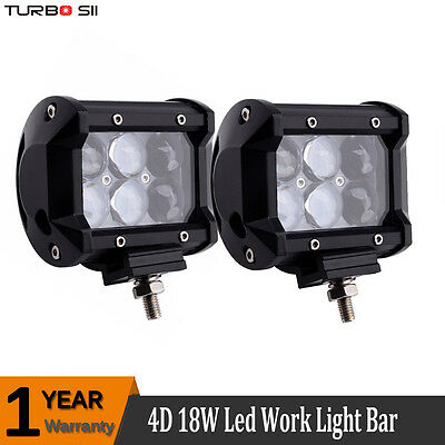 Pair 4 inch 18W CREE 4D LED Work Light Spot Driving Lamp Offroad 4WD SUV ATV
