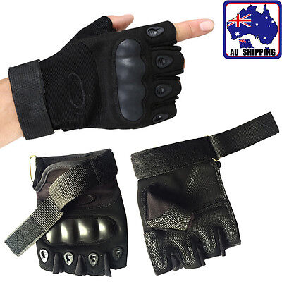 Fingerless Gloves Half Finger Military Airsoft Hunting Combat Black CGLOV3635