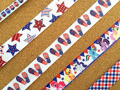 "3/8"" & 7/8"" Colorful Patriotic Grosgrain Ribbon Red White Blue Star Owl FlipFlop"