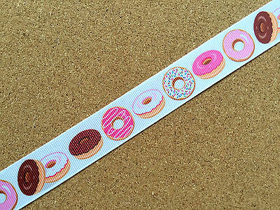 "7/8"" Colorful Donuts Pattern Grosgrain Ribbon Cake Decoration DIY Craft Supply"