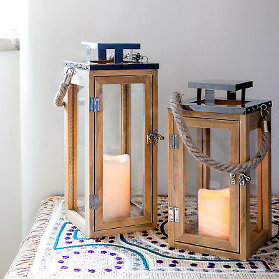 Wooden Battery Operated LED Candle Lanterns with Rope Handles for Garden Patio
