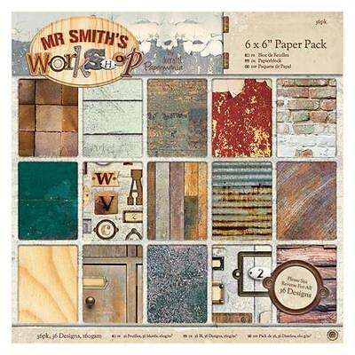 36 SHEET 6 x 6 FULL PACK MR SMITH'S WORKSHOP CARD MAKING CRAFT BACKING PAPER