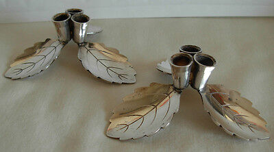 Pair Of Danish Leaf Footed Silverplated Candle Holders