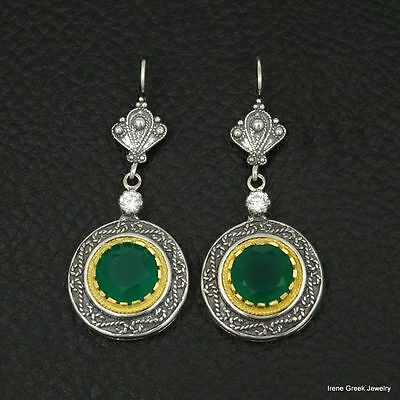 Rare Natural Green Onyx Byzantine 925 Sterling Silver & 22K Gold Plated Earrings