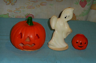 vintage Halloween GURLEY CANDLE LOT OF 3 jol jack-o-lantern white ghost