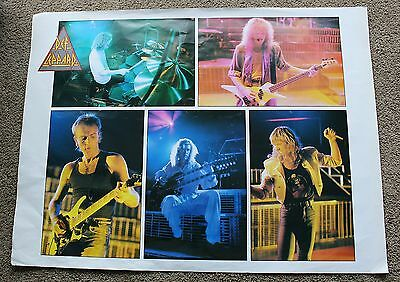 "Def Leppard 5 Pix of Band Members 1980s Large 30 x 40"" RARE Concert Poster VG"