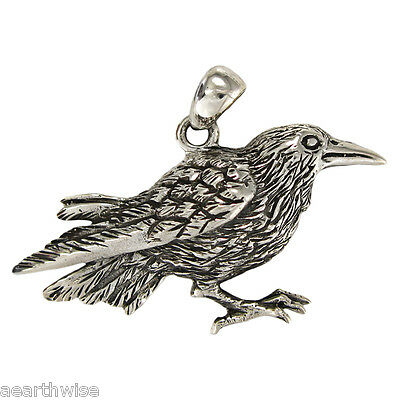 RAVEN PENDANT 925 STERLING SILVER Pagan Wicca Witch Goth