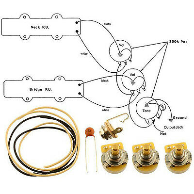 new - wiring kit for fender� jazz bass complete w/ diagram cts & switchcraft