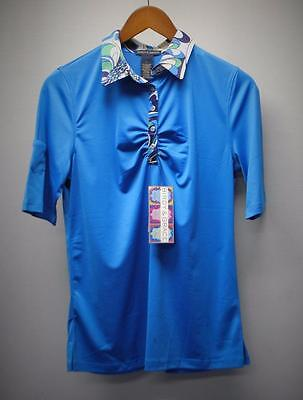 New Ladies Birdy & Grace LARGE Malibu Blue print golf polo shirt poly/spandex