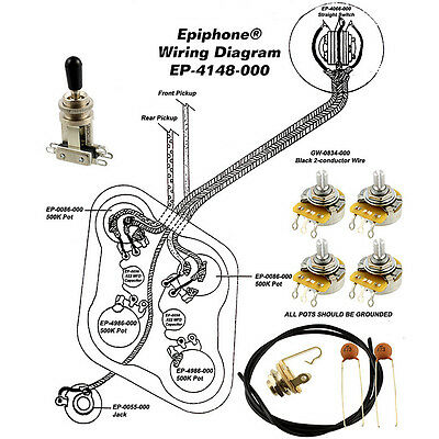 Wiring Kit for EPIPHONE® LES PAUL COMPLETE w Diagram CTS Pots Switchcraft Switch