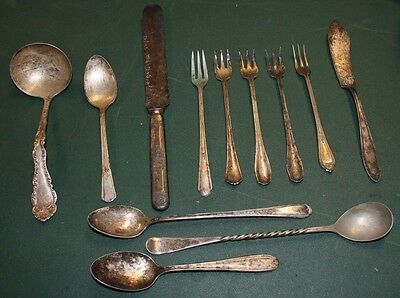 Large Lot Ornate Engraved Silverware Jewelry Making Patina Oxidation-37T!