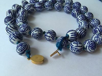 Vintage Necklace Shou Chinese Blue White Porcelain Beads Hand Knotted