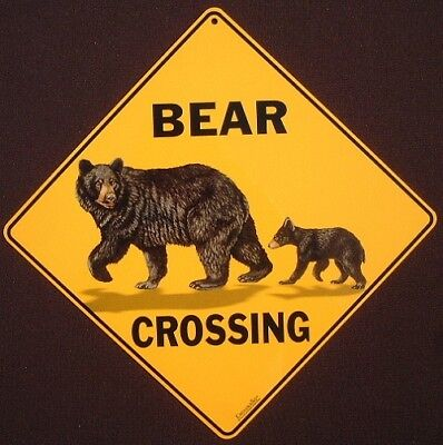 BEAR & CUB CROSSING Sign aluminum picture bears decor novelty animals home cubs