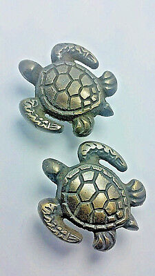 "2 Sea Turtle Brass Knobs Ocean Beach Seaside Hardware 1 3/4"" #K10"