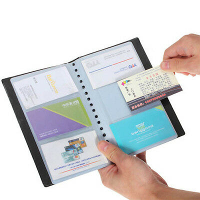 1pc 120 Cards Business Name ID Credit Card Holder Book Case Organizer Black