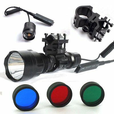 Tactical C8 T6 1200Lumen Flashlight Torch Set Rgb Beam For Air Rifle Hunting New