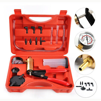 Car Tool Brass Vacuum Brake Bleeder Hand Held Pump Tester Kit Adapters with Case