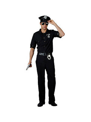 Mens Cop Uniform Policeman US Police Man Terminator Fancy Dress Costume BN