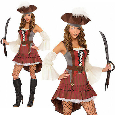 Ladies Castaway Pirate New Womens Caribbean Buccaneer Fancy Dress Costume Outfit
