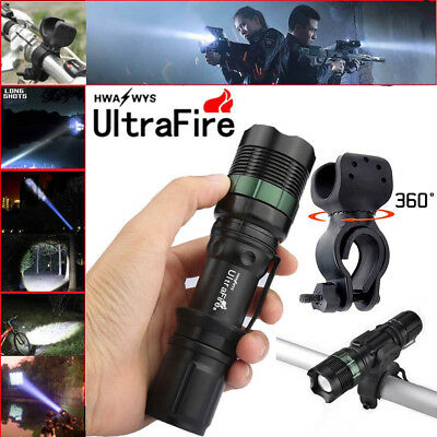 Ultrafire 6000LM CREE XML T6 LED Zoomable Flashlight Bike Bicycle 360°Mount Clip