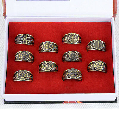 Anime Naruto Kakashi Sasuke Syaringan Bronze Metal Finger Ring Cosplay Gift 10pc