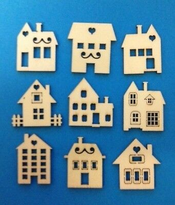 9 Small Natural Wooden House New Home Card Making Craft Embellishments