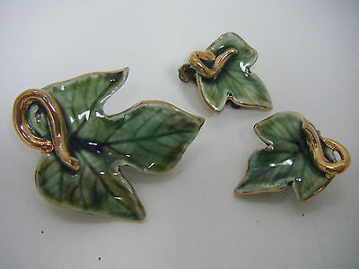VINTAGE Porcelain Hand Painted Leaf Pin/Brooch & Matching Earring Set!  GORGEOUS