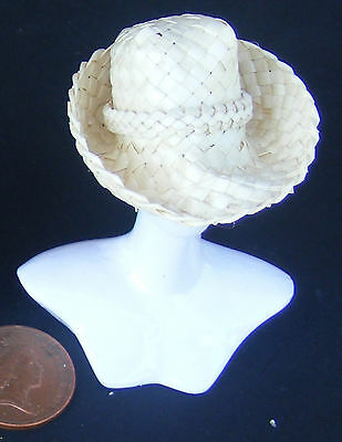 1:12 Mens Natural Woven Straw Hat Dolls House Miniature Beach Clothing Accessory
