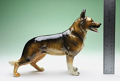 "10"" L German Shepherd Porcelain Dog Figurine Repro from Shafford Mold Japan New"