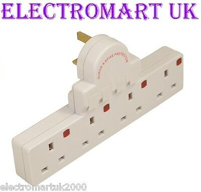 4 Way Plug In  Mains Switched Socket Adaptor Converter Spike & Surge Protected