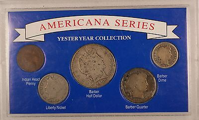 "Americana Series: Yesteryear Coin Collection"" Silver Barber Half Quarter Indian"