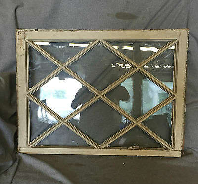 Antique Window Sash Diamond Pattern Vtg Shabby Cottage Chic Garden 716-16