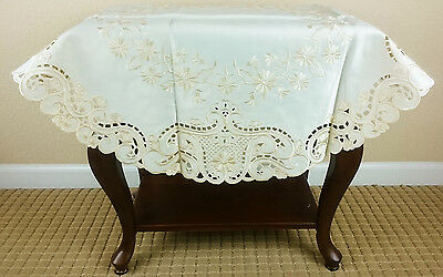 """Embroidered Floral Embroidery Fabric Cutwork 36"""" Tablecloth Round - Beige Color"""