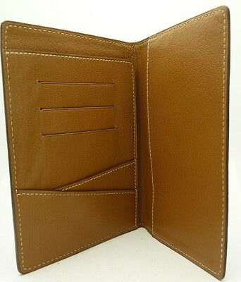 Authentic Cartier Passport Wallet Card Holder Black/Camel Leather