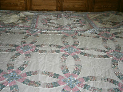 """Vintage Double Wedding Ring Quilt 81"""" x 100"""" Pink Blue Flowers 3 Matching Shams"""