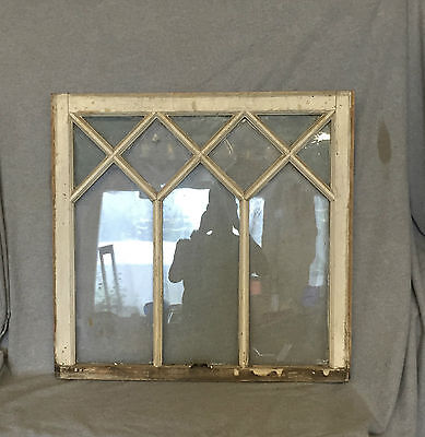 Antique Window Sash Diamond Pattern Old Shabby Cottage Chic Garden Vtg 739-16