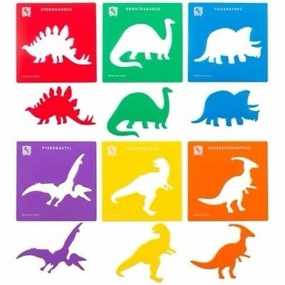 Set of 6 Dinosaur Stencils Reusable 240x240mm - Ed.vantage SD61*