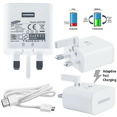 2 X Official Samsung S7 Galaxy S7 Edge UK Charger Adaptive Fast Charger + Cable