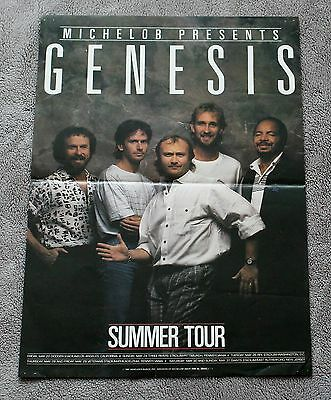 GENESIS Summer Tour 1987 Phil Collins Tony Banks Michelob Beer Promo Poster VG