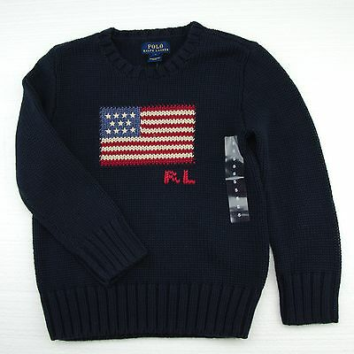 New Polo Ralph Lauren Boys USA Pullover Flag Sweater