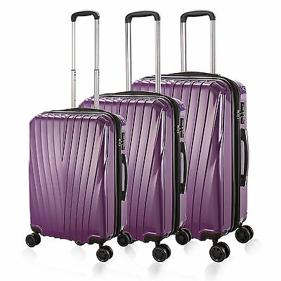 20/24/28'' Purple Hard 4 Wheels PC Luggage Stripe Rotating Spinner Suitcase